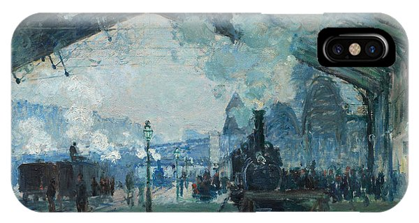 IPhone Case featuring the digital art Arrival Of The Normandy Train, Gare Saint-lazare by Claude Monet