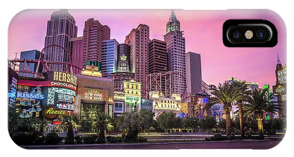 IPhone Case featuring the photograph New York City Skyline In Las Vegas Nevada by Alex Grichenko