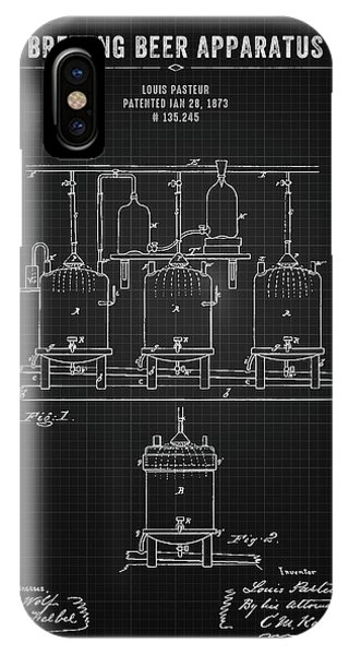Brewery iPhone Case - 1873 Brewing Beer Apparatus - Black Blueprint by Aged Pixel