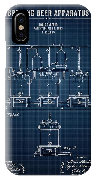 Brewery iPhone Case - 1873 Brewing Beer Apparatus - Dark Blue Blueprint by Aged Pixel