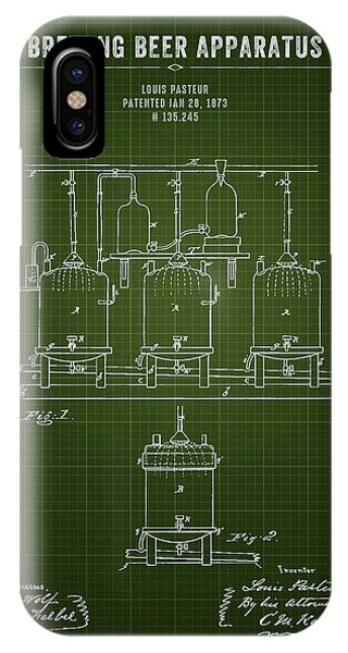 Brewery iPhone Case - 1873 Brewing Beer Apparatus - Dark Green Blueprint by Aged Pixel