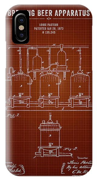 Brewery iPhone Case - 1873 Brewing Beer Apparatus - Dark Red Blueprint by Aged Pixel