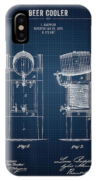 Brewery iPhone Case - 1876 Brewing Cooler - Dark Blue Blueprint by Aged Pixel