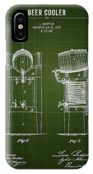 Brewery iPhone Case - 1876 Brewing Cooler - Dark Green Blueprint by Aged Pixel