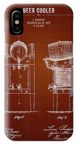 Brewery iPhone Case - 1876 Brewing Cooler - Dark Red Blueprint by Aged Pixel