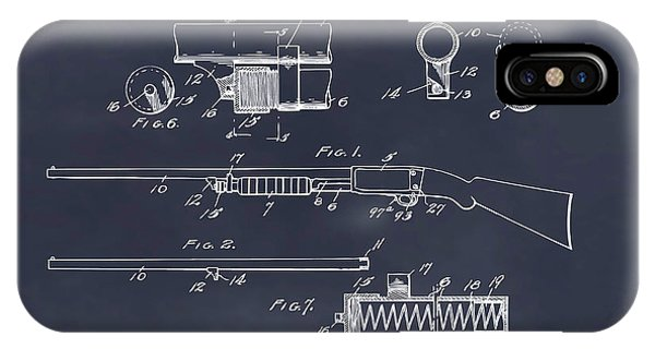 Trap Shooter iPhone Case - 1913 Remington Model 17 Pump Shotgun Blackboard Patent Print by Greg Edwards