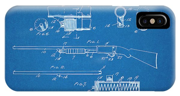 Trap Shooter iPhone Case - 1913 Remington Model 17 Pump Shotgun Blueprint Patent Print by Greg Edwards