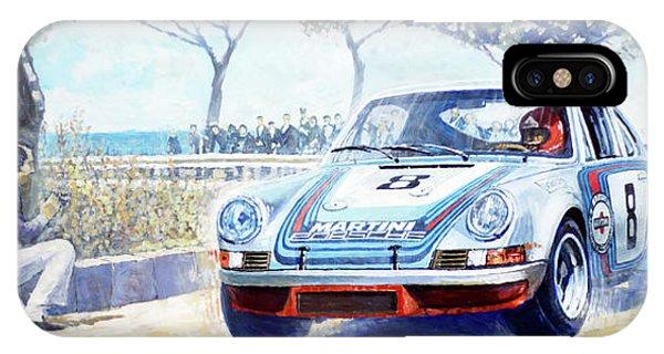 Martini iPhone Case - 1973 Targa Floria Porsche 911 Carrera Rsr Martini Racing Lennep Muller Winner  by Yuriy Shevchuk
