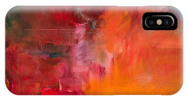 Red Sky iPhone X Case - Abstract Oil Painting Background. Oil by Anton Evmeshkin