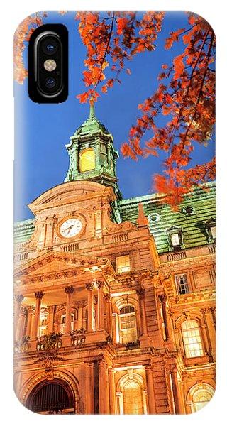 Quebec City iPhone Case - Autumn-colored Trees, Hotel De Ville by Stuart Westmorland