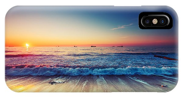 Orange Color iPhone Case - Beautiful Sunrise Over The Horizon by Valentin Valkov