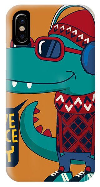 Cool Dinosaur Character Design Phone Case by Braingraph