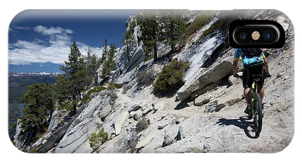iPhone Case - Cyclist On Mountain Road, Lake Tahoe by Panoramic Images