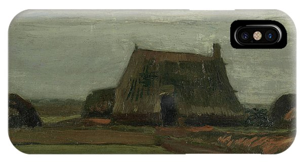 Van Gogh Museum iPhone Case - Farm With Stacks Of Peat by Vincent Van Gogh