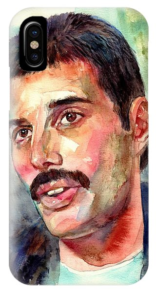 Legends Music iPhone Case - Freddie Mercury Watercolor by Suzann's Art