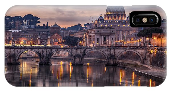 Dusk iPhone Case - Illuminated Bridge In Rome, Italy by Sophie Mcaulay