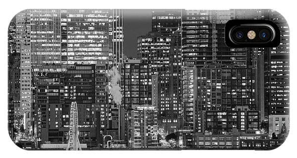 iPhone Case - Illuminated City At Night, Seattle by Panoramic Images