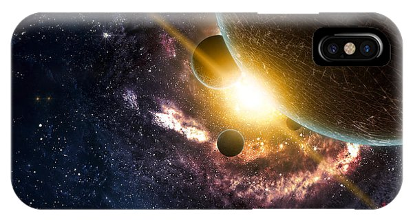 Dust iPhone Case - Planets Over The Nebulae In Space by Vadim Sadovski