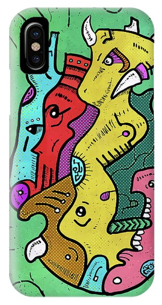 IPhone Case featuring the digital art Psychedelic Animals by Sotuland Art