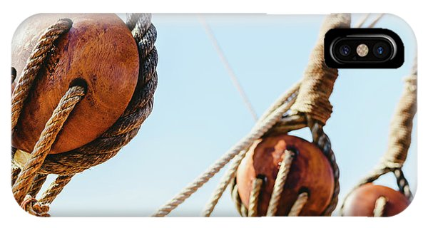 Rigging And Ropes On An Old Sailing Ship To Sail In Summer. IPhone Case