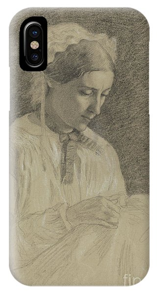 Pastel Pencil iPhone Case - Woman Embroidering by Edgar Degas