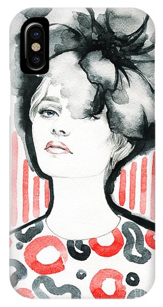 Ink iPhone Case - Woman Portrait .abstract Watercolor by Anna Ismagilova