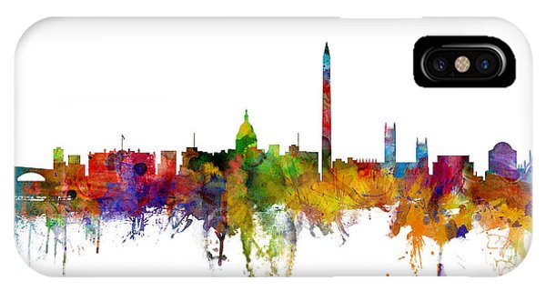 Silhouette iPhone Case - Washington Dc Skyline by Michael Tompsett