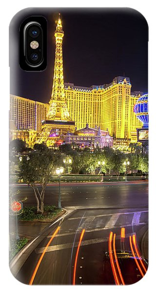 IPhone Case featuring the photograph Nigh Life And City Skyline In Las Vegas Nevada by Alex Grichenko