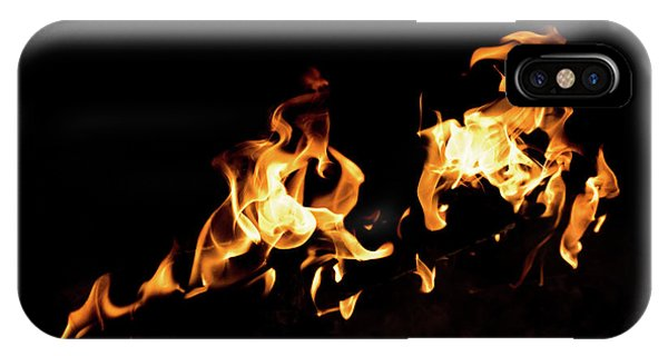 Flames In The Fire Of A Red And Yellow Barbecue. IPhone Case