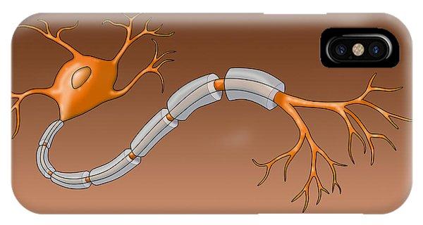 Neuron With Healthy Myelin Sheath Phone Case by Monica Schroeder