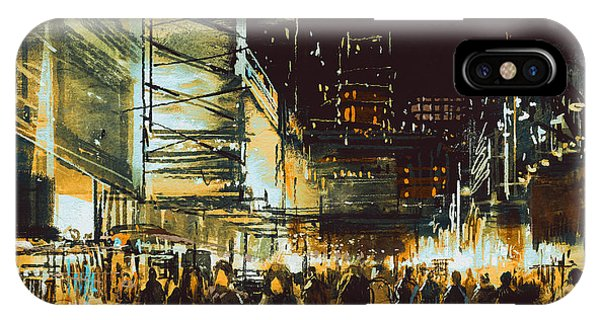 Modern iPhone Case - Painting Of Shopping Street City With by Tithi Luadthong