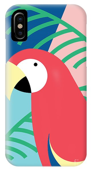 Pastel Colors iPhone Case - Tropical Bird In Abstract Geometric by Radiocat