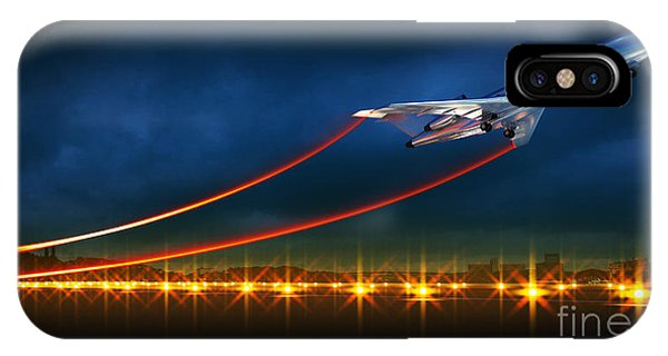 Track iPhone Case - 3d Illustration Of An Aircraft At Take by Egorov Artem