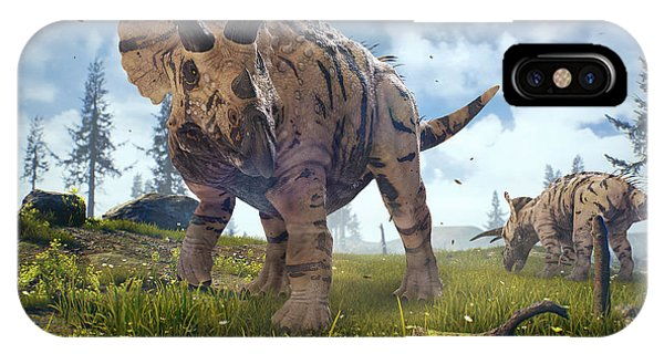 Digital Image iPhone Case - 3d Rendering Of Triceratops Horridus In by Herschel Hoffmeyer