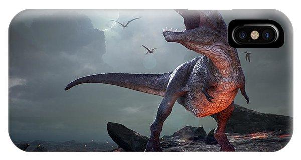Danger iPhone Case - 3d Rendering Of Tyrannosaurus Rex Near by Herschel Hoffmeyer