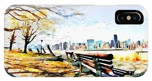 Park Bench iPhone Case - Water Color New York City Scene by Trentemoller