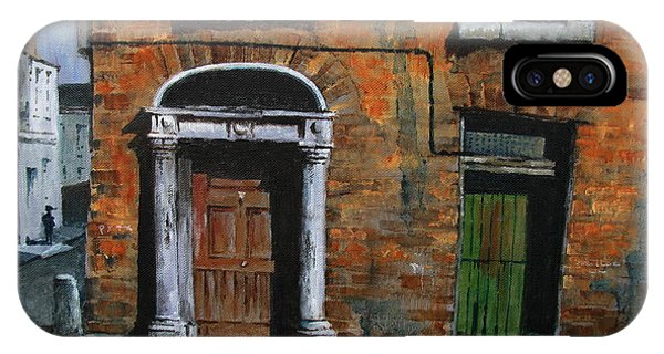 IPhone Case featuring the painting 775 Decaying Elegance In The Liberties, Dublin by Val Byrne
