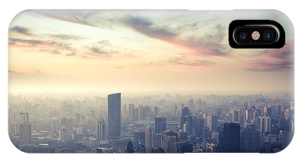 Dusk iPhone Case - A Birds Eye View Of Shanghai At Dusk by Chuyuss