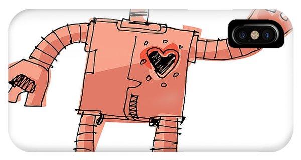 Space iPhone Case - A Bit Wired Cute Robot - Cartoon by Iralu