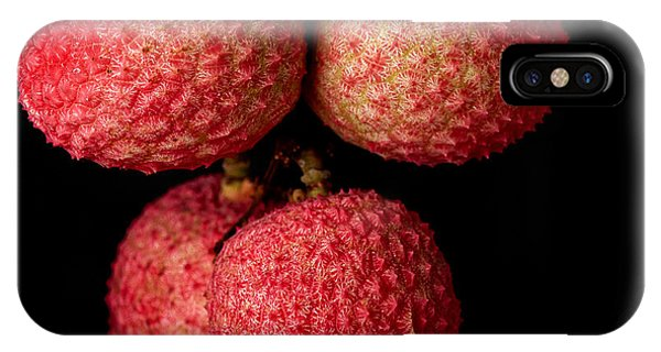 Ripe iPhone Case - A Bunch Of Lychees Against A Black by Hein