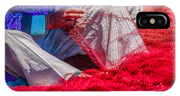 A Closeup To Fishermans Hands Sewing Phone Case by Pixinoo
