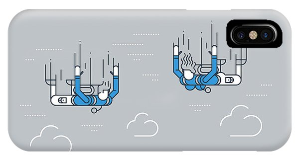 Grey Skies iPhone Case - A Couple Of Skydivers. Extreme Sport by Stmool