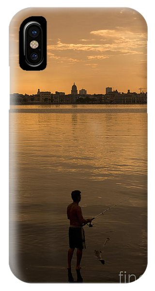 Fisherman iPhone Case - A Cuban Fishing Off The City Of Havana by Toniflap