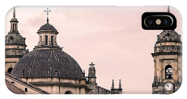 Christianity iPhone Case - A Famous Cathedral In Bogota, Colombia by David Antonio Lopez Moya
