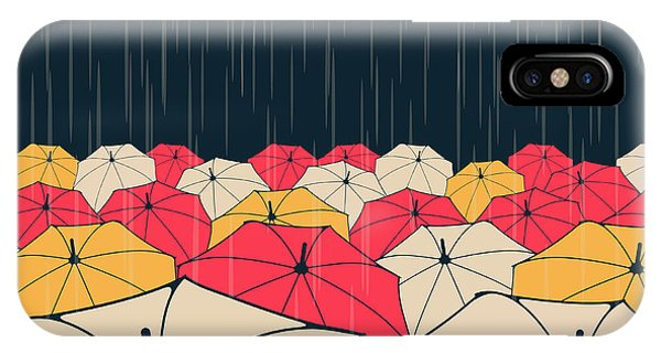 Parasol iPhone Case - A Field Of Umbrellas Under The Rain, In by L.dep