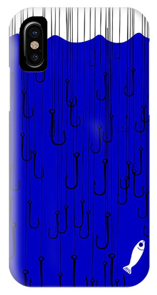 Danger iPhone Case - A Fish Under The Water With Many Hooks by Complot