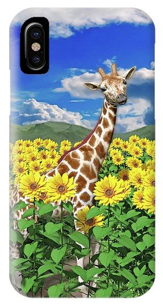 Sunflower iPhone Case - A Friendly Giraffe Hello by Betsy Knapp