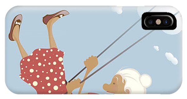 Gray iPhone Case - A Funny Granny On The Swing Is Happy by Popmarleo