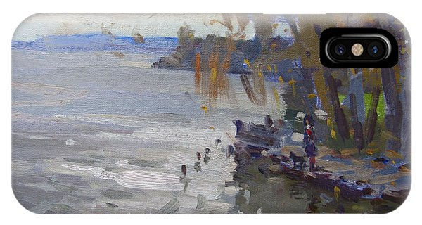 Fisherman iPhone Case - A Gray Fall Day At Fishermans Park by Ylli Haruni
