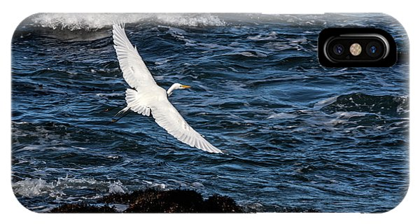 A Great Egret Soars Over Waves IPhone Case